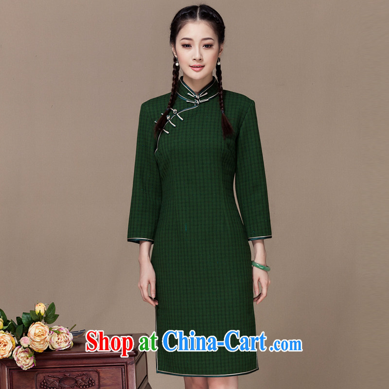Yin Yue seal autumn 2015 new national dresses retro style tartan daily improved short cheongsam dress green XXL