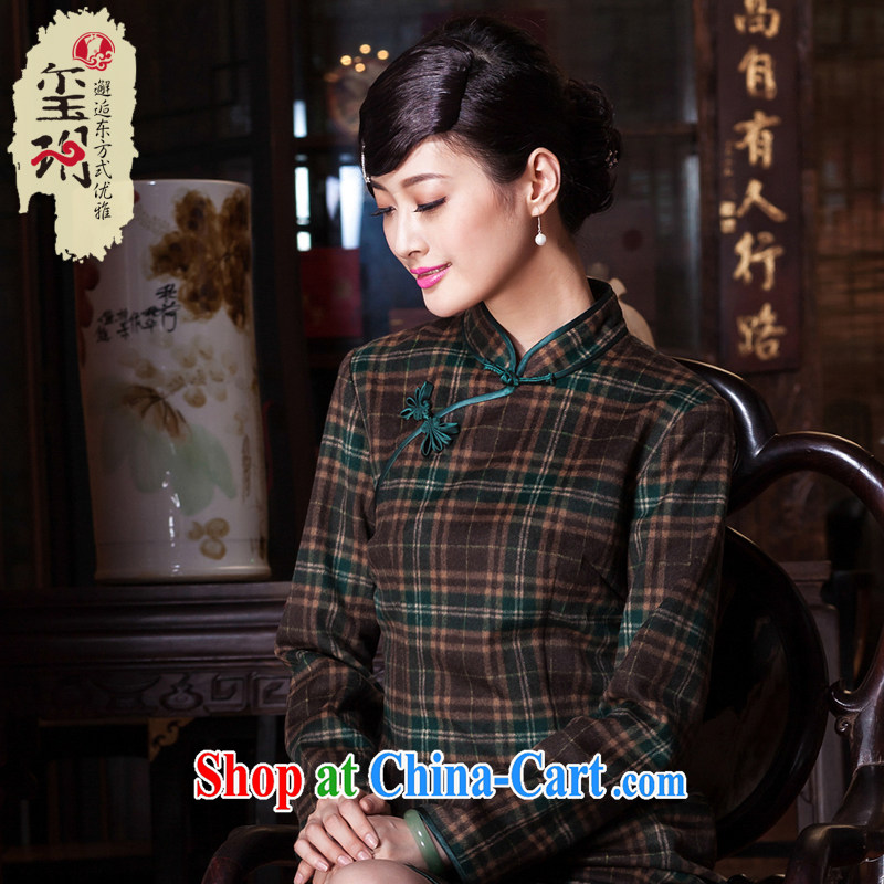 Royal Seal Yin Yue 2015 autumn and winter, the wind of cheongsam wool? classic tartan daily improved game cheongsam dress picture color XXL