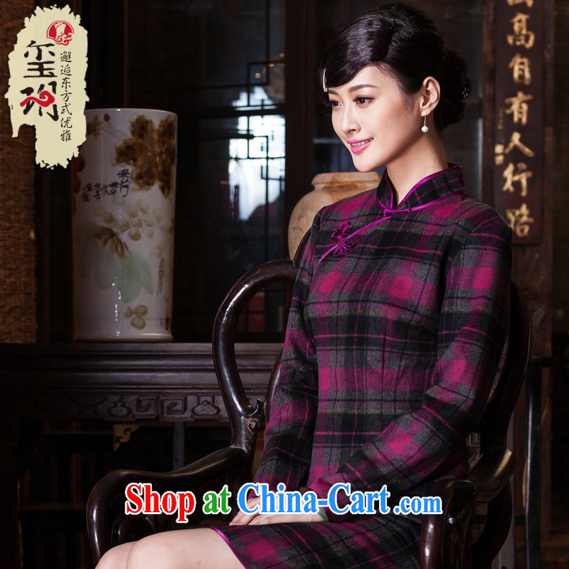 Yin Yue seal 2015 autumn and winter New Name Yuan cheongsam daily improved wool does Ms. antique dresses thick purple skirt tartan XXL