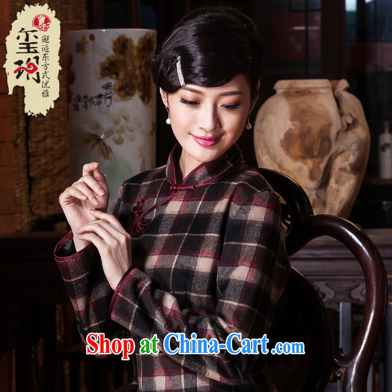 Yin Yue seal 2015 new hair do wool dresses in this long day improved long-sleeved autumn and winter dresses Ms. skirt red tartan S