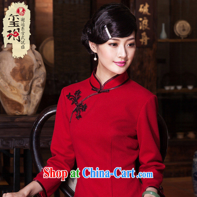 Yin Yue seal 2015 winter new wedding dresses red elegance daily improved, qipao dresses red XXL