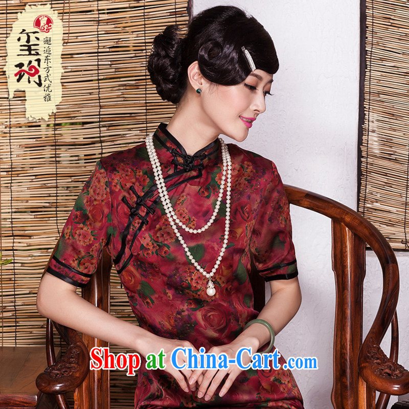 Yin Yue seal autumn 2015 New Silk silk fragrant cloud yarn girls dresses daily improved bilateral banquet cheongsam dress picture color M