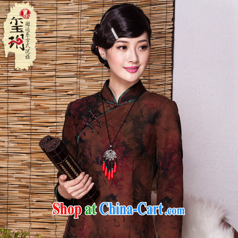 Yin Yue seal autumn 2015 New Silk woven Hong Kong cloud yarn is silk, long robes sauna silk improved banquet cheongsam dress picture color XXL