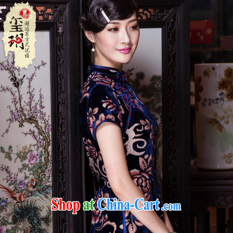 Yin Yue seal 2015 autumn long silk black flower lint-free cloth ironing drill outfit sauna annual silk dress cheongsam dress blue M