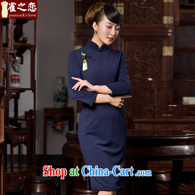 Bird lovers of poetry, 2015 spring new cheongsam dress birds of land improvement and stylish 9 cuff retro elegant qipao Tibetan cyan XXXL