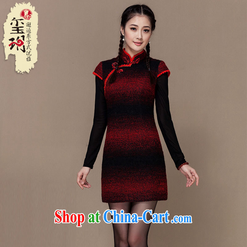 Yin Yue seal winter 2015 new streaks folder gross cotton robes? skirt improved thick Korea Ms. Shanghai qipao picture color L