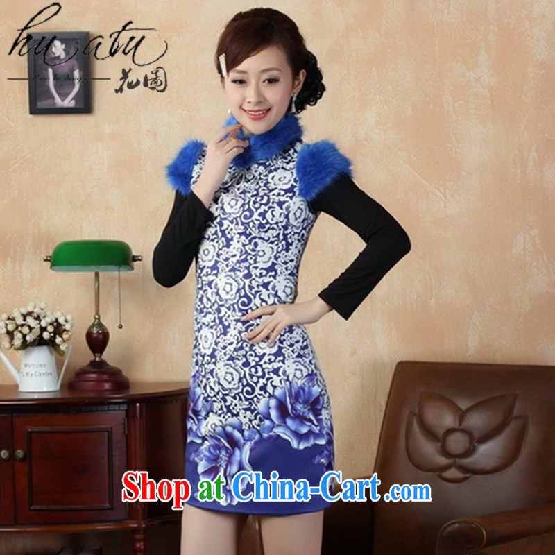 spend the winter, Tang Women's clothes winter outfit improved, for Chinese short dresses that gross cotton robes national costumes Blue on white 2 XL