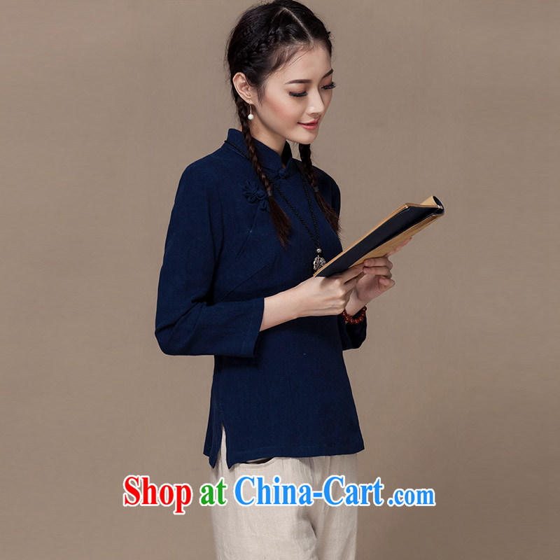 Autumn 2015 new units the long-sleeved Tang with the snap-han-linen Chinese literary and art nouveau dresses T-shirt blue XXL
