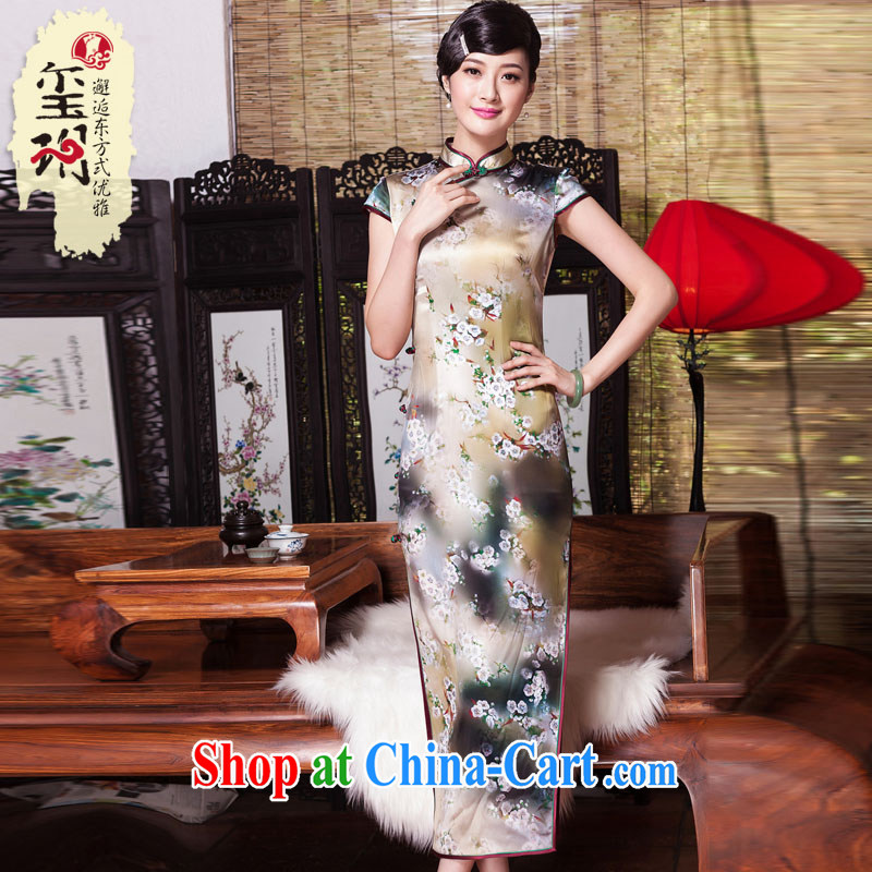 Yin Yue seal autumn 2015 New Long, heavy Silk Cheongsam dress Korea antique dresses picture color XXL