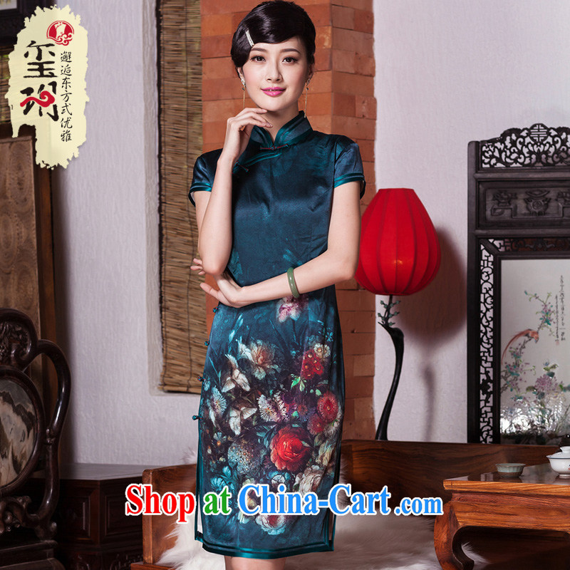 Yin Yue seal autumn 2015 new heavy silk Silk Cheongsam improved retro flowers daily, qipao dress picture color XL