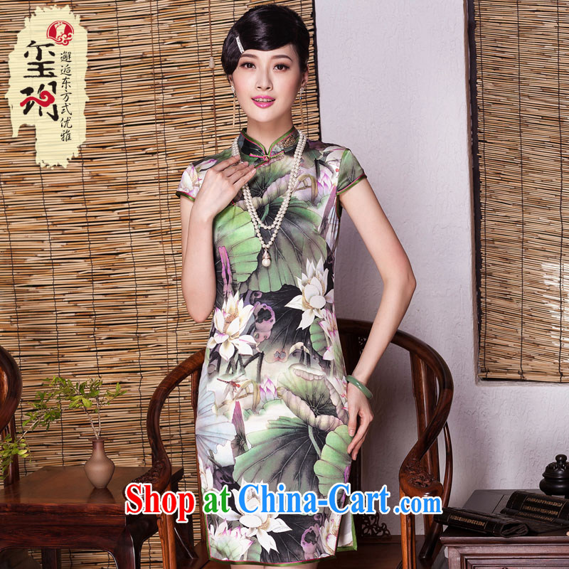 Yin Yue seal summer Lotus luxury sauna Silk Cheongsam summer improved stylish elegance heavy Silk Cheongsam dress picture color XXL