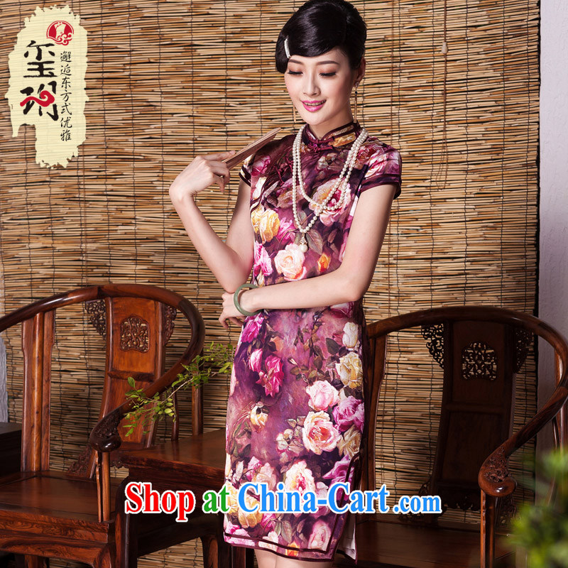 Yin Yue seal 2015 autumn, roses heavy Silk Cheongsam dress improved cultivating retro sauna silk dress cheongsam picture color XXL