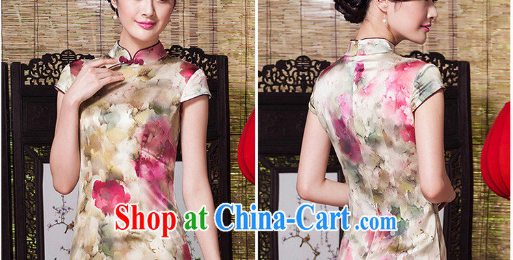 Yin Yue seal 2015 summer and autumn New Silk Cheongsam daily short-sleeved Ethnic Wind cheongsam dress Stylish retro improved picture color S pictures, price, brand platters! Elections are good character, the national distribution, so why buy now enjoy more preferential! Health