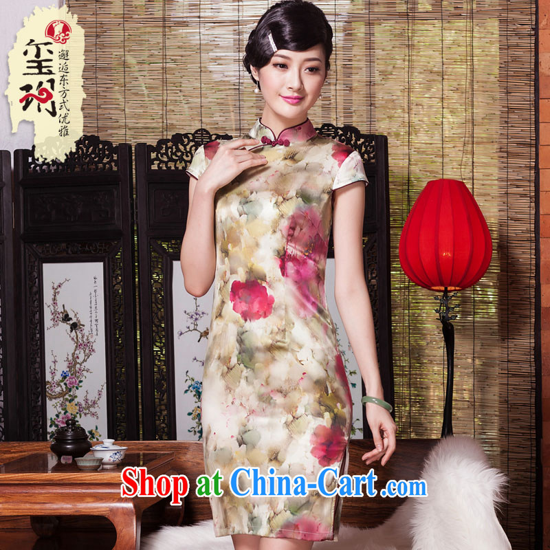 Yin Yue seal 2015 summer and autumn New Silk Cheongsam daily short-sleeved Ethnic Wind cheongsam dress Stylish retro improved picture color S
