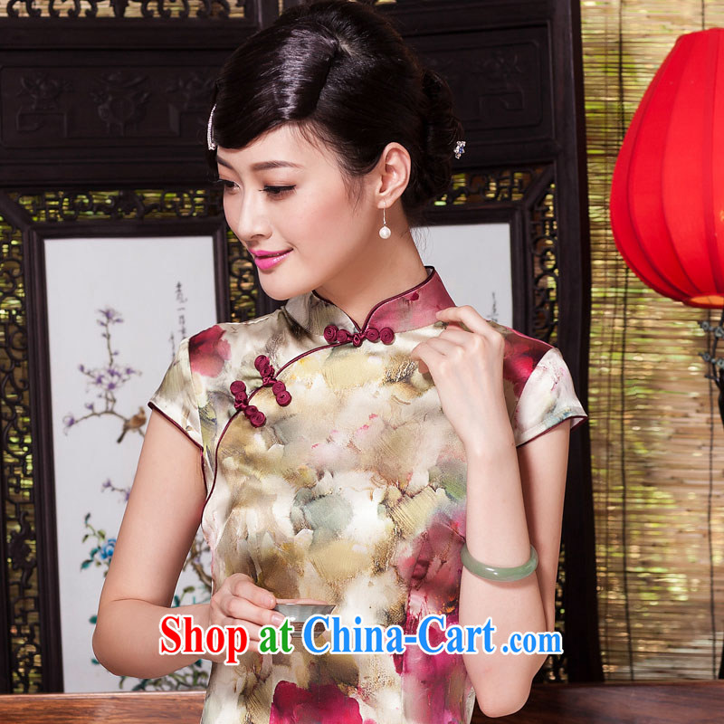 Yin Yue seal 2015 summer and autumn New Silk Cheongsam daily short-sleeved Ethnic Wind cheongsam dress Stylish retro improved picture color S seal, Yin Yue, shopping on the Internet