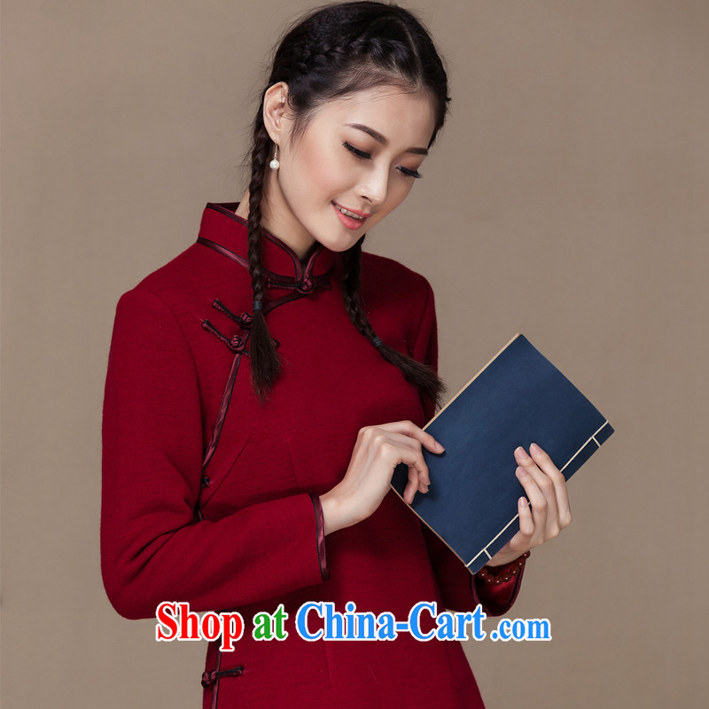 Yin Yue seal 2014 autumn and winter new outfit of T-shirt, wool is improved long-sleeved Chinese Chinese female Han-deep red XL