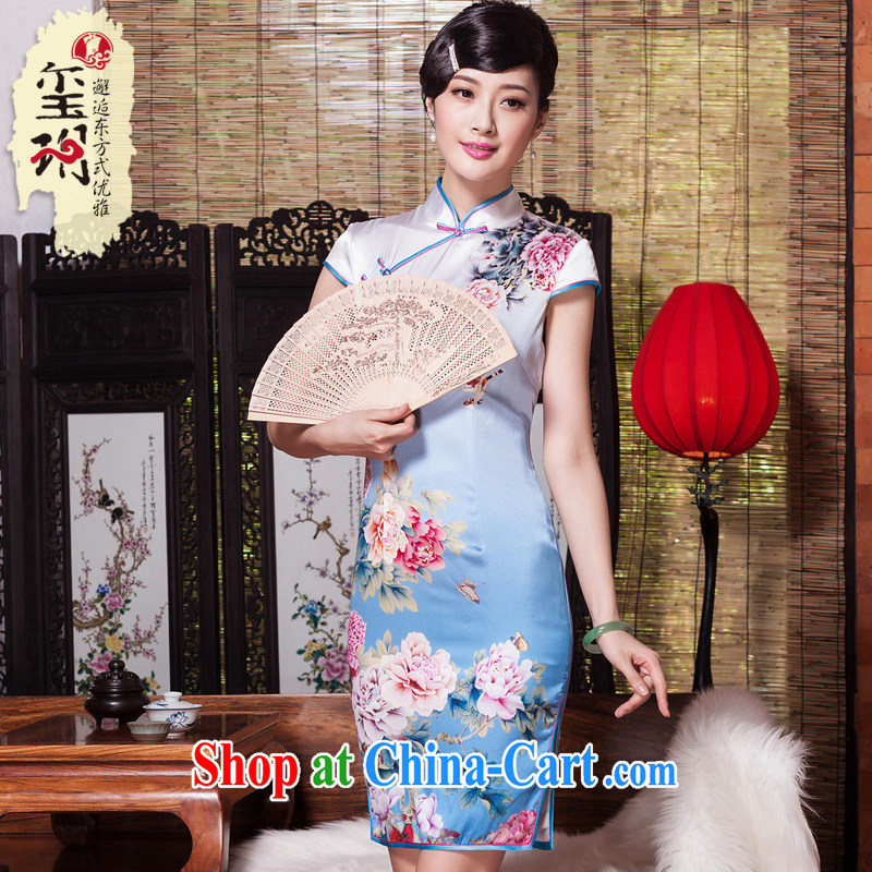 Yin Yue NARS summer 2015 new, improved cheongsam stylish summer genuine heavy silk upscale retro short cheongsam dress picture color XXL