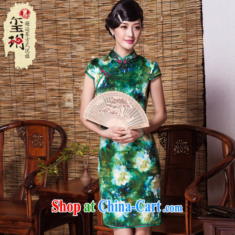 The seal as soon as possible confirming shade heavy Silk Cheongsam luxury sauna Silk Cheongsam dress improved fashion, dress picture color XXL