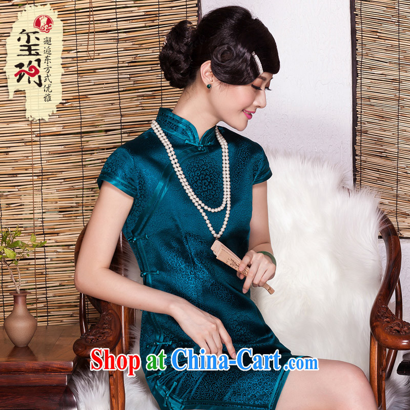Yin Yue seal Silk Cheongsam 2015 autumn retro daily sauna Silk Cheongsam dress Korea elegant banquet dress picture color XXL