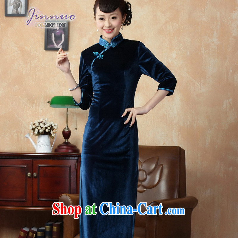 kam world the Hyatt female new Pure color-stretch the wool improved cheongsam 7 cuff-tie lady sweet temperament, for cultivating graphics thin even coat, blue 0001 3 XL