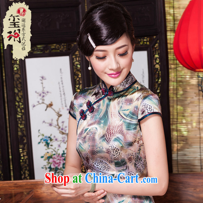 Yin Yue seal high-end antique banquet Silk Cheongsam dress autumn 2014 New Name Yuan daily cultivating female cheongsam picture color XXL