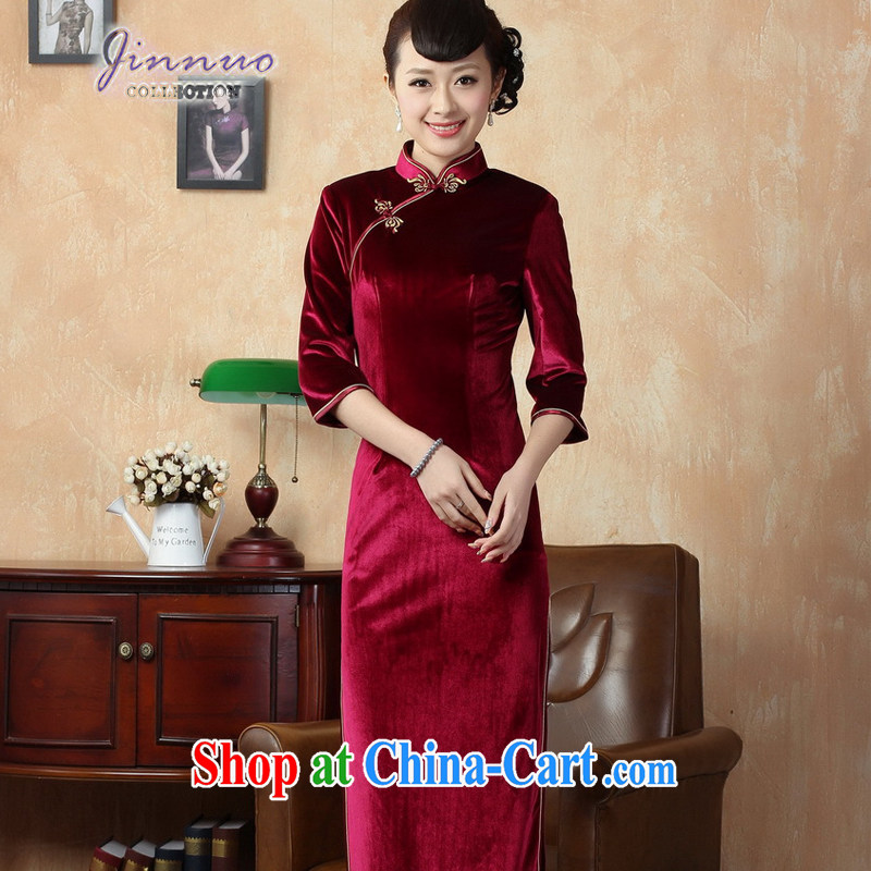 Kam-world the Hyatt girl with solid color-stretch the wool improved cheongsam 7 cuff-tie lady sweet temperament, for cultivating graphics thin even coat skirt wine red 0001 XXXL
