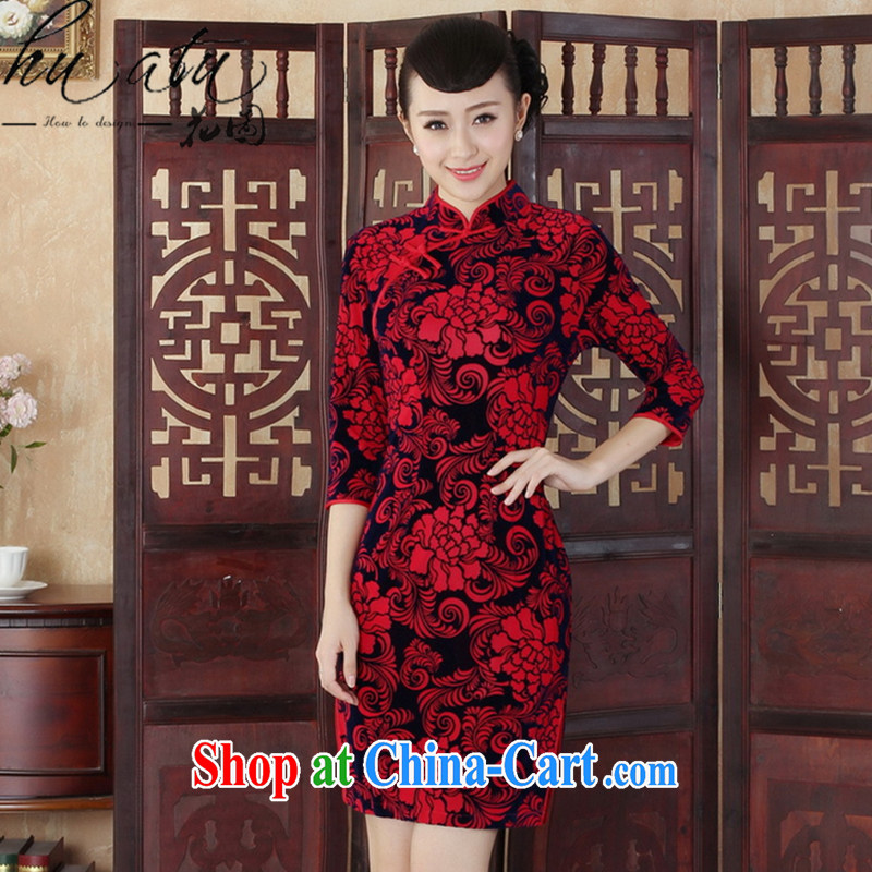Take the Tang Women's clothes autumn outfit New Ethnic Wind Chinese improved gold velour cultivating the collar cheongsam dress 7 cuff red XL
