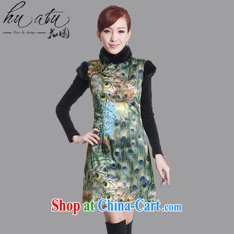 spend the winter clothes Tang Women's clothes, cheongsam collar hair collar Chinese improved birds winter at the damask cotton short cheongsam uniforms green 2 XL
