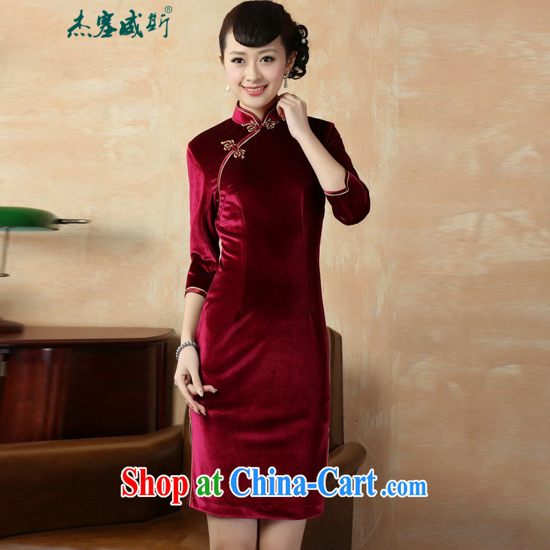 Jessup, autumn and winter new retro elegance, For manually-tie plain velour cheongsam dress TD 0005 #wine red XXXL