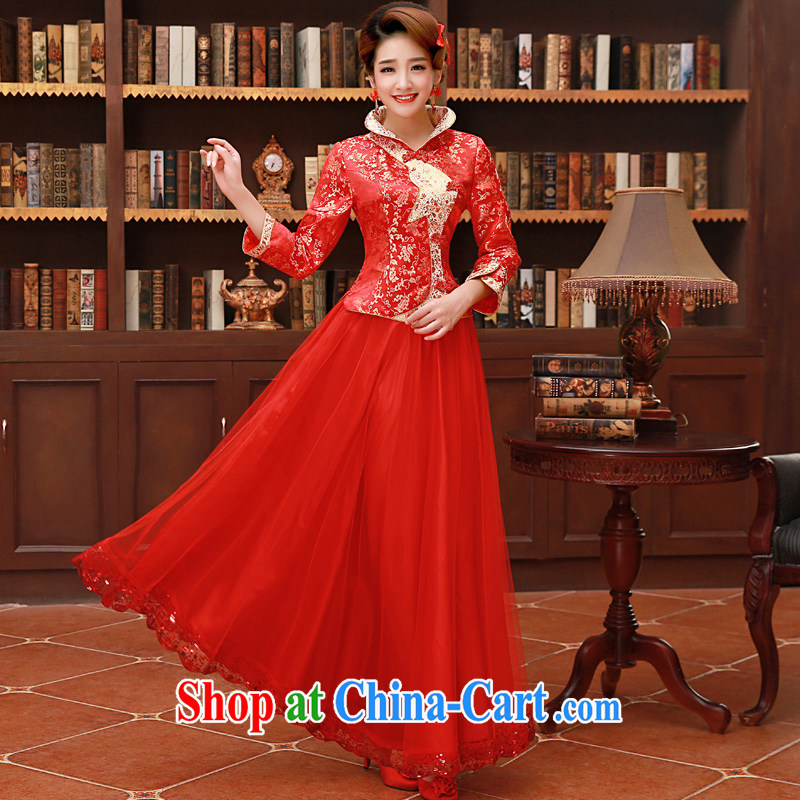 A good service is 2015 New red spring and summer bridal wedding dress Chinese wedding married cheongsam dress uniform toast 9 long sleeved dress 4 XL