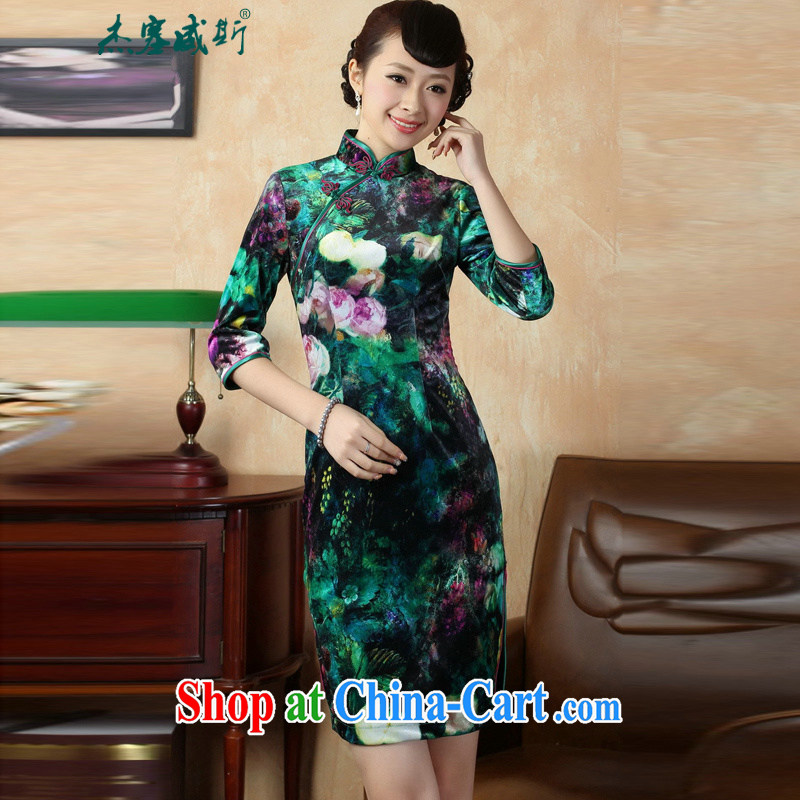 Jessup, autumn and winter, the autumn with elegant hand-tie and collar stretch the velvet cheongsam Chinese dresses TD 0007 figure XXL