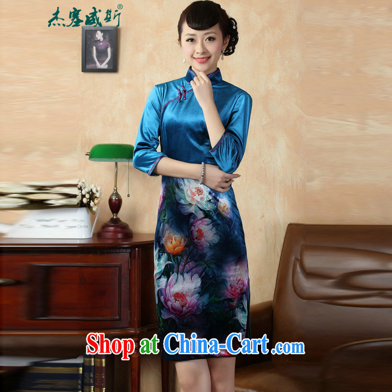 Jessup, autumn and winter, the autumn is the collar manual tray back stretch the wool painting stylish classic cuff in cheongsam dress TD _0008 figure XXL