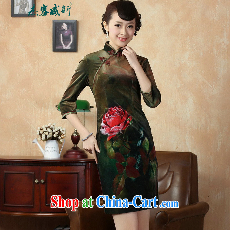 Jessup, autumn and winter, the elegant, manually for the buckle stretch the wool painting stylish classic cuff in cheongsam dress TD 0002 figure XXL