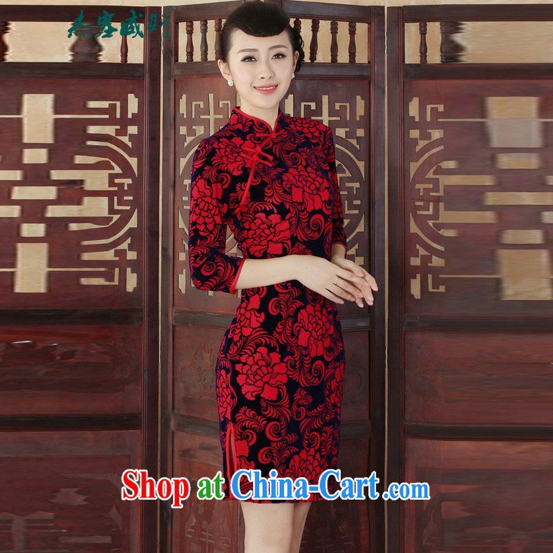 Cheng Kejie, Wiesbaden, autumn and winter, new elegant Ethnic Wind female gold velour Sau San cheongsam dress TD 0015 figure XXL