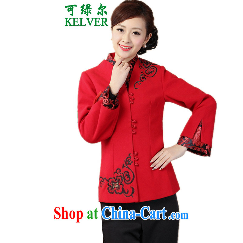 To Green, older women with autumn and winter fashion new products, for stitching embroidered MOM replace Tang jackets red 3XL