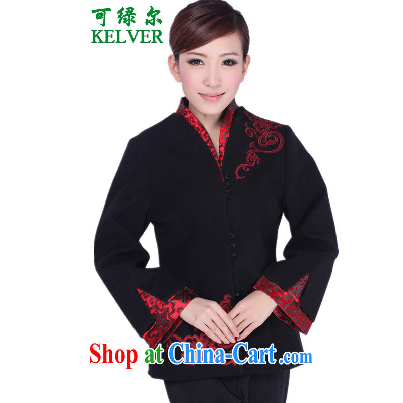 To Green, older women with autumn and winter fashion new products for the embroidery stitching mother load single row buckle Tang jackets black 3 XL