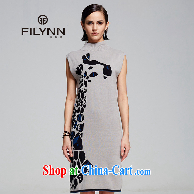 Philip Lynne FILYNN 2014 female new arts van sleeveless stamp beauty round-collar dresses F C 14 31,030 gray S