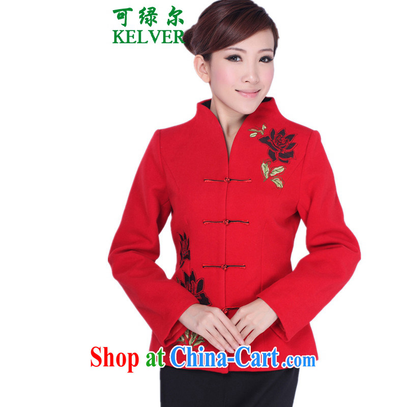 To Green, older women with autumn and winter new stylish and cultivating the collar embroidered mother load Tang jackets red 3XL