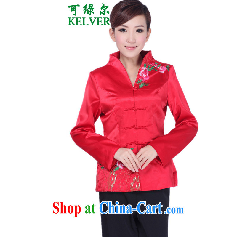 To Green, older women with autumn and winter fashion new products, for embroidered mother load single row buckle Tang jackets red 3XL