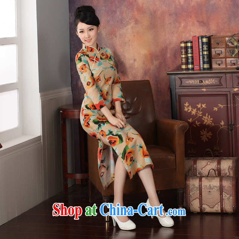 2014 genuine new cotton autumn the Commission with stylish cultivating improved cheongsam dress long retro small dress 573,273 orange S