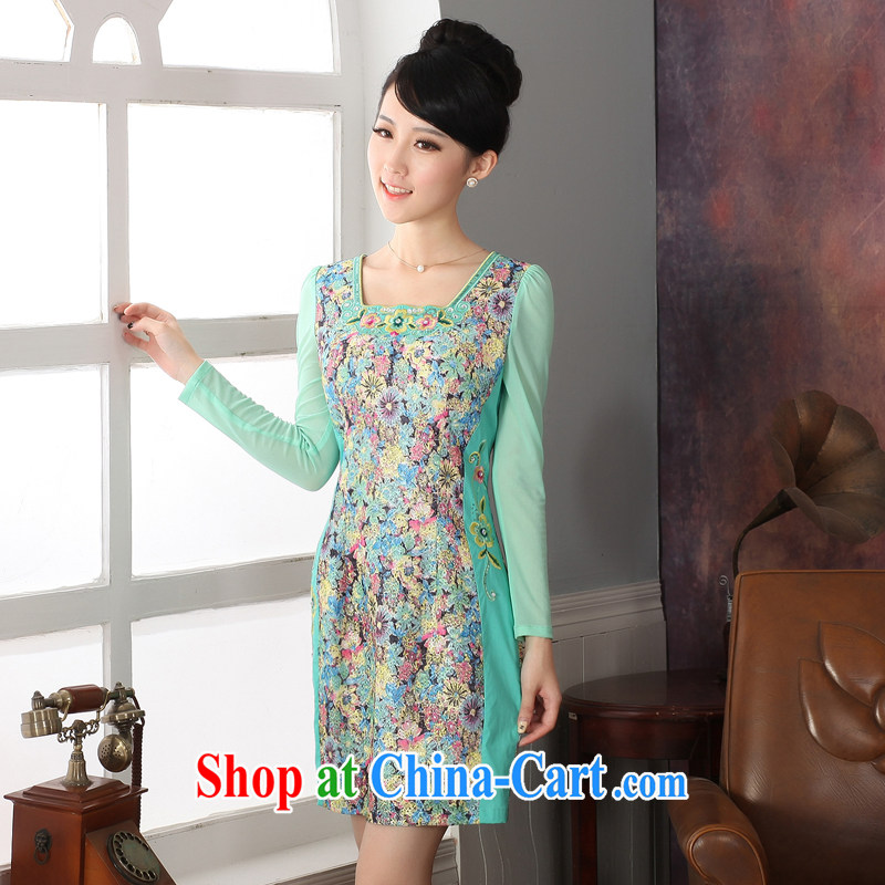 2014 fall/winter new long-sleeved retro cheongsam dress embroidery hook flower floral skirt ethnic Wind China wind skirts 573,271 green XXL