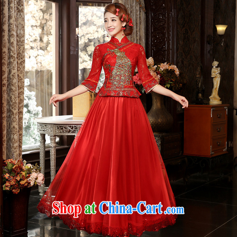 A good service is 2015 new autumn red bridal wedding dress toast serving traditional retro long dresses, 7 cuff 2XL