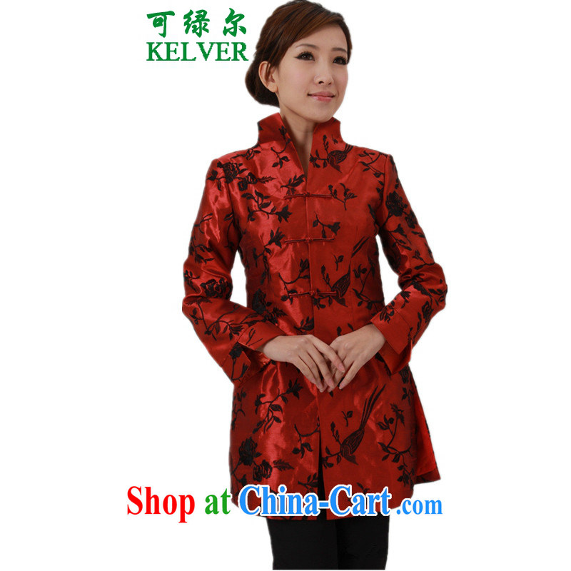 To Green, older women with autumn and winter new stylish beauty lapel suit mother Single Row buckle Long Tang jackets red 2 XL