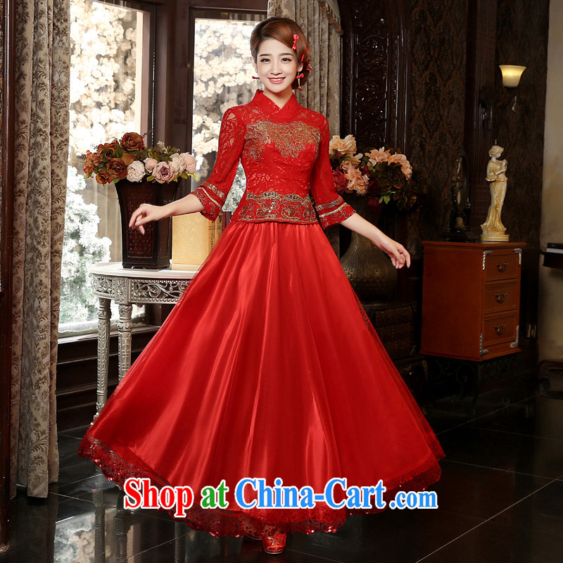 Service was good in 2015 autumn and winter new bridal red wedding dress toast serving Chinese Antique long-sleeved dresses red 2 XL - years after shipment