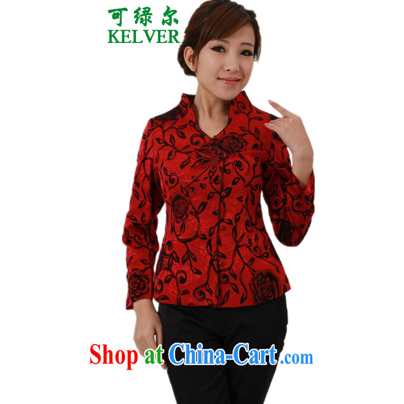 To Green, older women with autumn and winter fashion new products for the floral single row for mothers with Tang Jacket Picture Color 2 XL