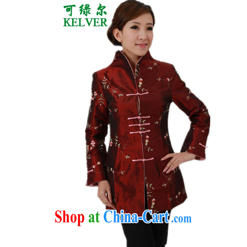 To Green, older women with autumn and winter fashion new products, suit for the long, single row for mother load Tang jackets/J 1393 #2 XL