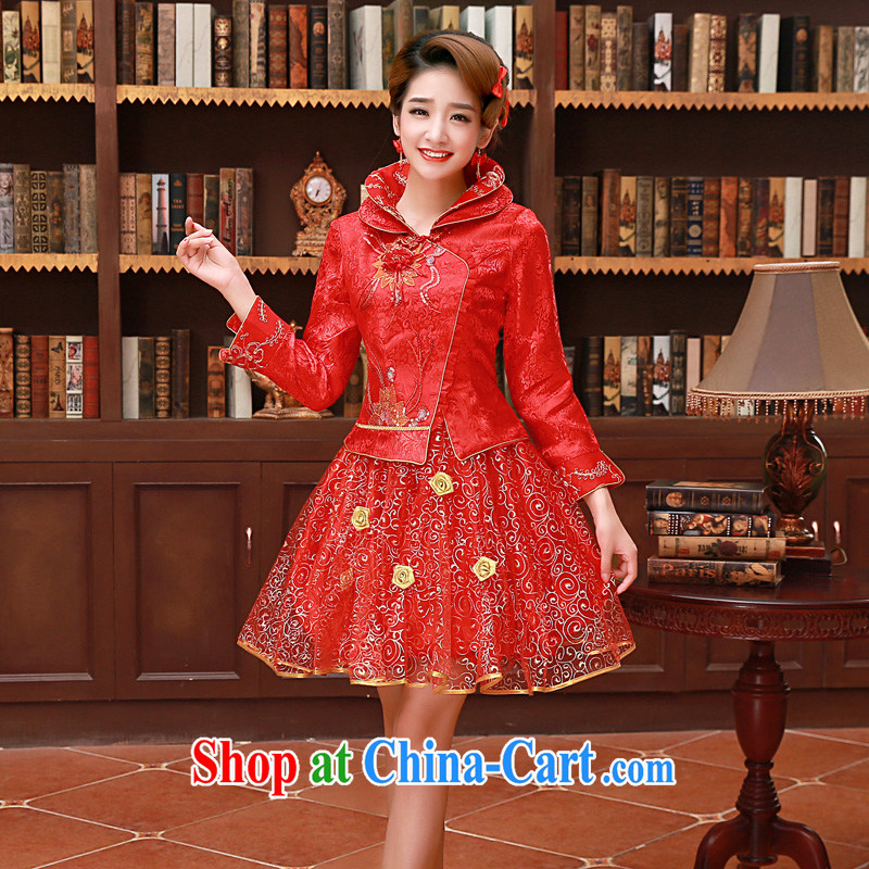 A good service is a 2015 new spring and summer red Chinese brides wedding dress short, long-sleeved clothing bows dresses red winter, lantern skirt 2XL