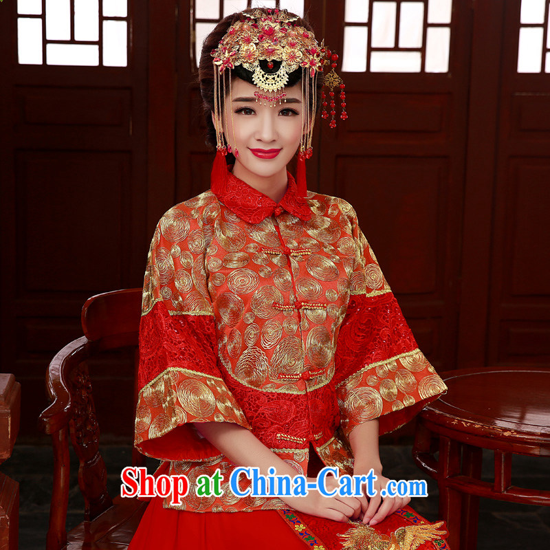 Service was good in Autumn Chinese wedding dress Soo-wo Service Bridal replacing married cheongsam dress toast serving Phoenix and skirt show kimono red XL