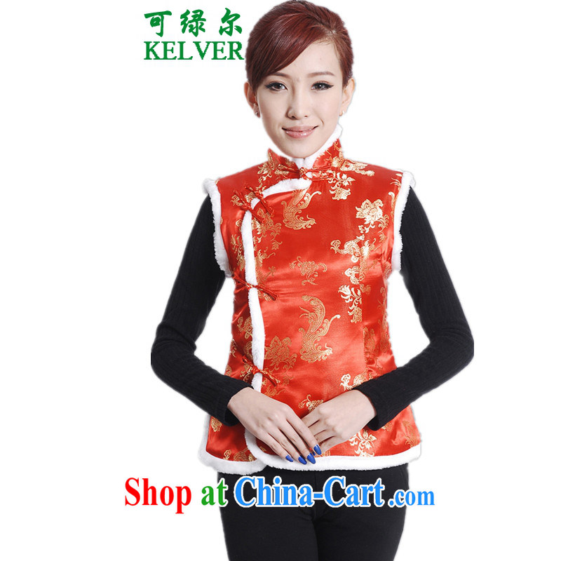 To Green, older women with autumn and winter fashion new products, for a tight single-buckle embroidered mother load Tang replace cotton vest picture color 2 XL