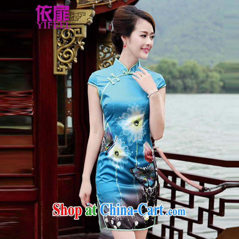 spattered with new women with short, short-sleeved elegant antique butterfly flower, qipao dresses YF 8833 blue butterfly XL